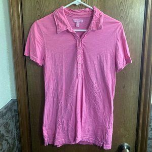 Lilly Pulitzer pink ruffle polo top, large